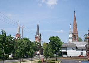 Palmyra (village), New York - Four churches at Palmyra's main intersection.
