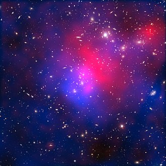 Abell 2744 - Abell 2744, nicknamed Pandora's Cluster. The galaxies in the cluster make up less than five percent of its mass. The gas (around 20 percent) is so hot that it shines only in X-rays (coloured red in this image). The distribution of invisible dark matter (making up around 75 percent of the cluster's mass) is coloured here in blue.