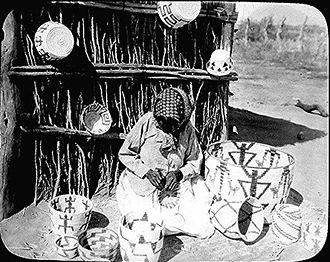 Tohono O'odham - Traditional basketmaking, 1916