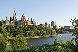 Parliament Hill, as viewed from Gatineau at sunset.JPG