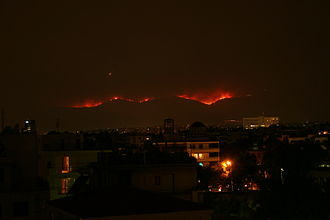 2007 Greek forest fires - View of the Parnitha National Park fire from north Athens