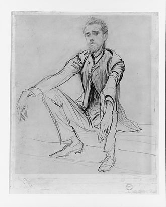 Paul César Helleu - Drawing of Helleu by John Singer Sargent from the early 1880s. Sargent cherished this candid drawing of his lifelong friend and hung it in the dining room of his Paris apartment.