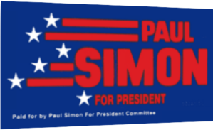 Paul Simon (politician) - Image: Paul Simon presidential campaign, 1988