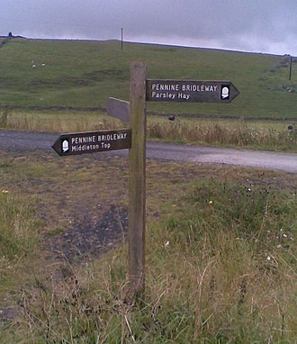 Pennine Bridleway - The Pennine Bridleway signpost near Parsley Hay, where the route on the High Peak Trail is joined by that on the Tissington Trail