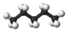 Ball and stick model of pentane