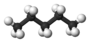 Kugel-Stab-Modell von Pentan