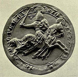 Henry de Percy, 1st Baron Percy - Seal of Henry Percy from the Barons' Letter, 1301. On his shield he bears the arms of Brabant (Percy modern)