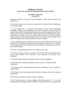 Peshawar Accord Agreement between some Afghan mujahideen parties