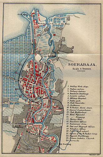 Surabaya - Map of Surabaya from an 1897 English travel-guide