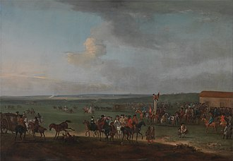 """Newmarket Town Plate - """"The Round Course at Newmarket, Cambridgeshire, Preparing for the King's Plate"""" - Peter Tillemans (1684-1734)"""