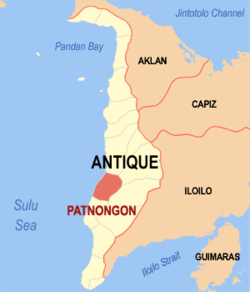 Map of Antique with Patnongon highlighted