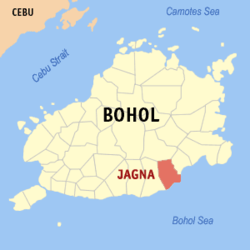 Map of Bohol with Jagna highlighted