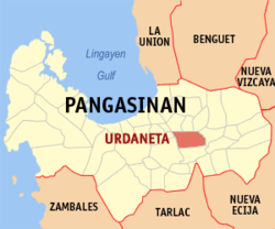 Map of Pangasinan with Urdaneta highlighted