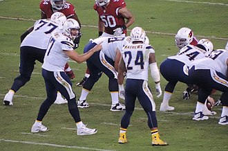 Ryan Mathews (American football) - Mathews (No. 24) with quarterback Philip Rivers (left) in the backfield in 2014