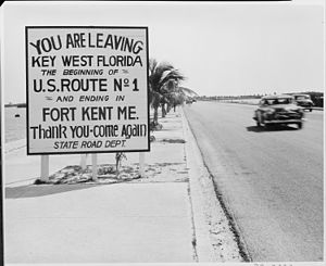 Overseas Highway - The beginning of U.S. 1 in March 1951; U.S. 1 has since been extended to the Monroe County Courthouse in downtown Key West