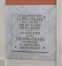 Plaque in San Juan, Puerto Rico, commemorating Ramon Portas Mingot's creation of the beverage.