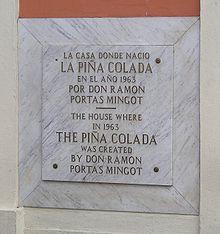 targa dedicata alla Piña colada