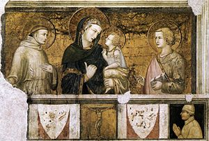 Pietro Lorenzetti - Madonna with St Francis and St John the Evangelist - WGA13519.jpg