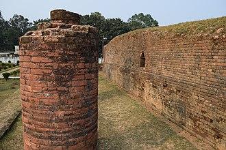 Samatata - Ruins of a pillar and building in Mainamati