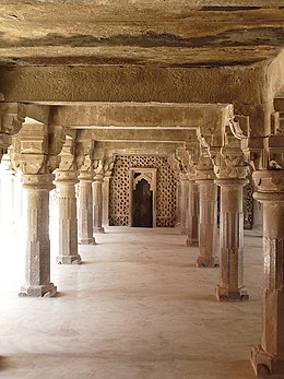 Pillared hall on the first floor over side arcade, Atala Masjid, Jaunpur