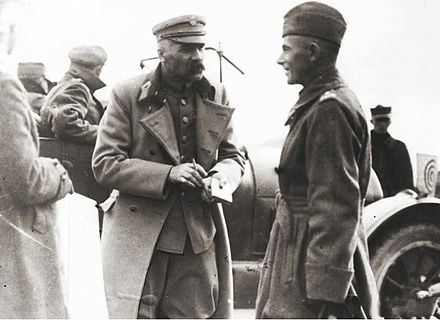 Pilsudski (left) and Edward Rydz-Smigly (right), 1920, during Polish-Soviet War Pilsudski and Rydz-Smigly.jpg