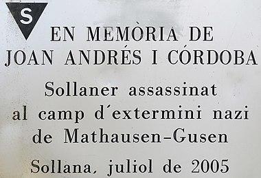 Placa en memòria de Joan Andrés i Córdoba (País Valencià - Mathausen-Gusen).jpg