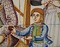 Plafó de taulells de cuina, pisa policromada, 1788, (detall del xiquet jugant a pilota), museu de Ceràmica de València.JPG