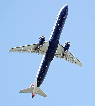 Airbus A321 - Below view of an Airbus A321-200 of British Airways (2008)