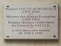 Plaque Couve de Murville, 44 rue du Bac, Paris 7.jpg