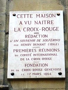 Gedenkschild am Haus in Genf, in dem unter anderem die erste Sitzung des Komitee der Fünf stattfand