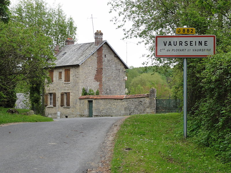 Ployart-et-Vaurseine (Aisne) city limit sign Vaurseine