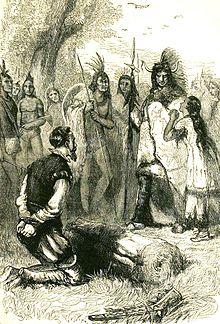 Pocahontas salva la vita a Smith in un'illustrazione del XIX secolo.