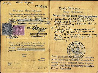 Rescue of the Danish Jews - Polish passport used in Denmark up to March 1940. The Jewish holder escaped to Sweden during the war.