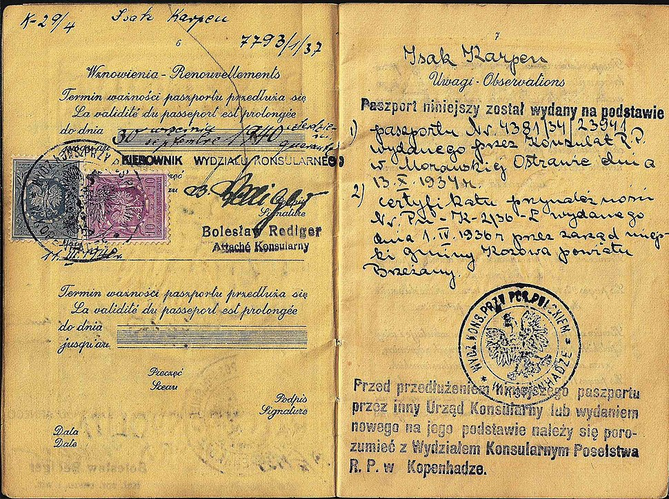 Polish-Jewish passport used in Denmark up to March 1940, holder escaped to Sweden during the war