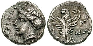 Pontic Greeks - Ancient Greek coin from Sinope, coast depicting the head of a nymph and an eagle with raised wings, 4th Century BC
