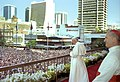 Pope John Paul II addressing the public, Brisbane City Hall, 25 November 1986.jpg