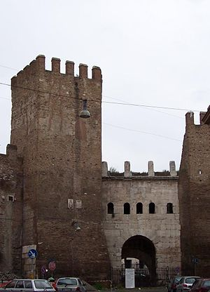 Porta Tiburtina - Porta Tiburtina today, view from outside the Aurelian Walls. During its long history, the gate was called also or Porta San Lorenzo, Capo de Bove and Porta Taurina.