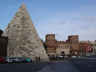 Pyramid of Cestius - The pyramid was incorporated into the Aurelian Walls and is close to Porta San Paolo (on the right).
