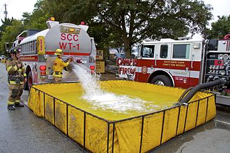 Portable water tank - Fire Department using a Portable Water Tank in South San Jose