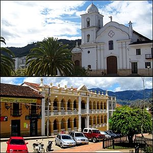 Guateque - Church and colonial building in Guateque