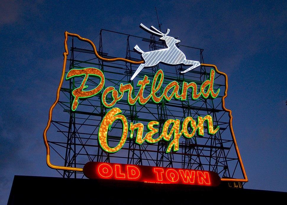 Portland Oregon - White Stag sign at dusk
