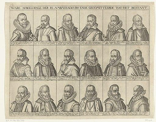 Portretten van de achttien deelnemers bij de vredesonderhandelingen, 1608 Ware afbeelding der h. ambassadeurs ende gecomitteerde tot het bestant (titel op object), RP-P-OB-80.737