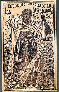 Etching by Jose Guadalupe Posada, depicting St. Juan Diego and the Virgin image miraculous imprinted on the cloth where he collected the roses.