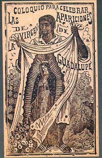 Juan Diego - Juan Diego, hoja religiosa, etching by José Guadalupe Posada n.d. but ? pre-1895