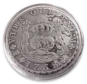 Spanish real - Silver 8-real coin of 1768 from the Potosí mint.