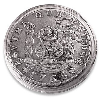 Dollar sign - Spanish silver real or peso of 1768 - the right-hand pillar clearly resembles the dollar sign.