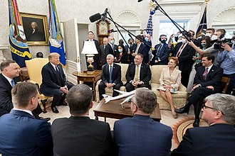 Poland's president Andrzej Duda visited the White House on June 24, 2020, the first foreign leader to do so since the start of the pandemic. President Trump Visits with the President of Poland (50044008817).jpg