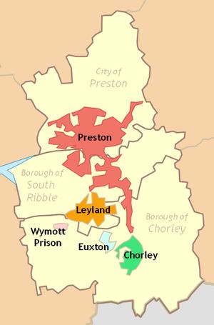 Central Lancashire - Preston Urban Area in 2001 within Central Lancashire