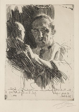 Paolo Troubetzkoy - Portrait of Troubetzkoy, etching, by Anders Zorn, 1909