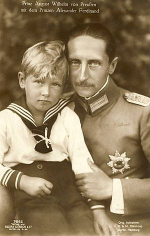 Prince Alexander Ferdinand of Prussia - A postcard of Prince Alexander with his father.